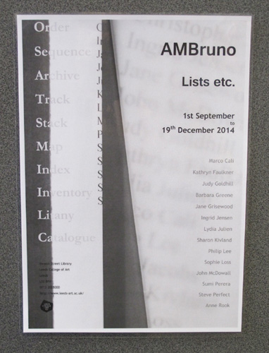 AMBruno: Lists etc. at  Leeds College of Art
