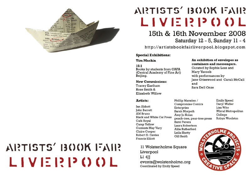 Poster for Artists' Book Fair, Liverpool