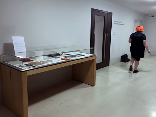 Exhibition of selected AMBruno books in display cabinet outside Tate Archive, 2017